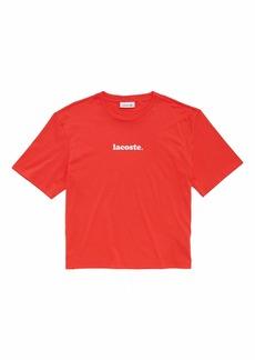 Lacoste Women's Short Sleeve Crew Neck Branded Logo T-Shirt
