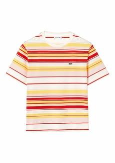 Lacoste Women's Short Sleeve Crewneck Multicolor Striped T-Shirt Flour/Corrida-Nidus-Daba