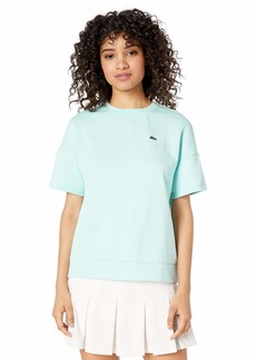 Lacoste Women's Short Sleeve Fleece Crewneck Sweatshirt Aquarium/NEOTTIA
