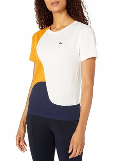 Lacoste Women's Short Sleeve Loose FIT Technical Pique Color Block TEE Shirt Navy Blue/Flour/ABRICOTINE
