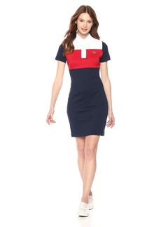 Lacoste Women's Short Sleeve Pima 85th Anni Color Block Polo Dress Ef4870