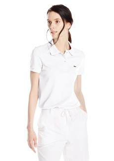 Lacoste Women's Short Sleeve Pique Classic Fit Polo Shirt White 40