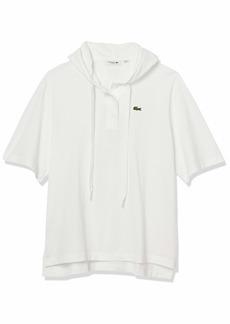 Lacoste Women's Short Sleeve Pique Hooded Polo Shirt  XL
