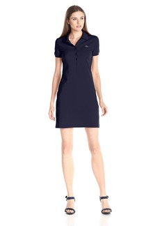 Lacoste Women's Short Sleeve Pique Polo Dress Navy Blue 34