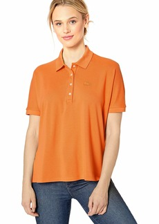 Lacoste Womens Short Sleeve Relaxed Fit Lyocell-Cotton Polo Polo Shirt  M