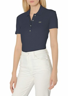 Lacoste Women's Short Sleeve Slim Fit Ribbed Polo Shirt