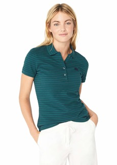 Lacoste Women's Short Sleeve Slim FIT Stretch Striped Polo ACONIT/Navy Blue