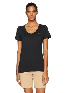 Lacoste Women's Short Sleeve Solid Scoop Neck Jersey Tee