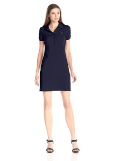 Lacoste Women's Short Sleeve Pique Polo Dress Navy Blue 42
