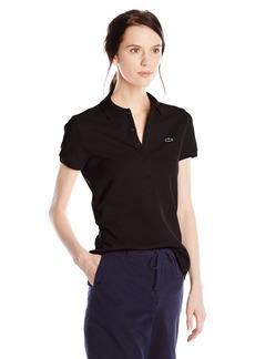 Lacoste Women's Short Sleeve Stretch Pique Slim Fit Polo Shirt Black 44