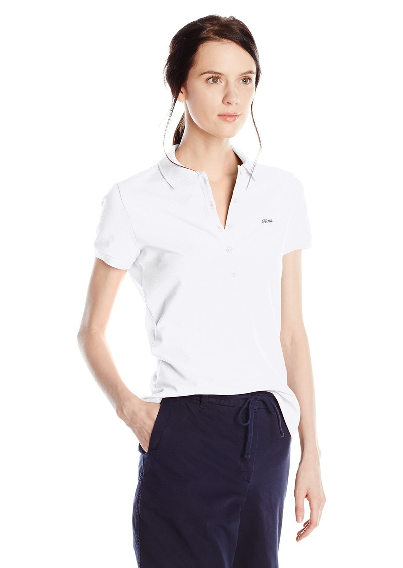 bb4f6a8aab Lacoste Women's Short Sleeve Stretch Pique Slim Fit Polo Shirt White 38