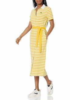 Lacoste Women's Short Sleeve Striped Polo Maxi Dress