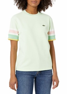 Lacoste Women's Short Sleeve Waffle Knit Striped Cuff Loose Fit T-Shirt Sprout Green/Anthemis-LIAMONE-Flour-Bagatelle Pink