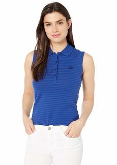 Lacoste Women's S/L Striped Cotton Pique Polo Shirt