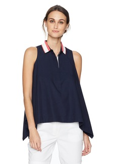 Lacoste Women's Sleeveless Cotton Twill Asymmetrical Hem Top