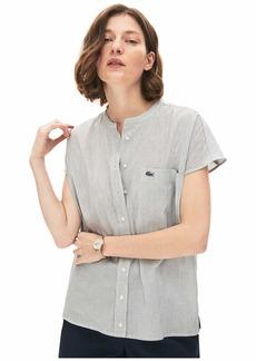 Lacoste Women's Sleeveless Mandarin Collar Striped Button Down Shirt