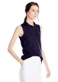 Lacoste Women's Sleeveless Stretch Pique Slim Fit Polo Shirt  46