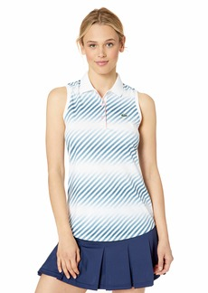 Lacoste Women's Sleeveless Ultra Dry Printed Tennis Polo Shirt White/NEOTTIA/Bagatelle Pink
