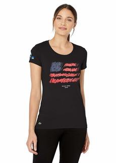 Lacoste Women's Sport Miami Open Edition Americana T-Shirt black