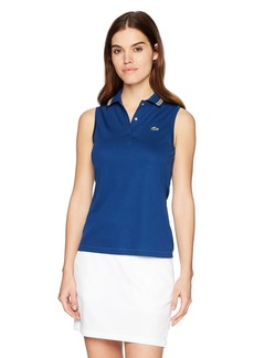 Lacoste Women's Sport Sleeveless Ultra Dry Tennis Polo with Mesh Back Pf3424 Marino/Buttercup-White-AP
