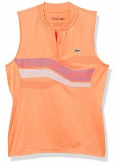 Lacoste Women's Sport Sleeveless V-Neck Printed Super Dry Golf Polo Orangeade/Tanzanite-Gladiolus-White