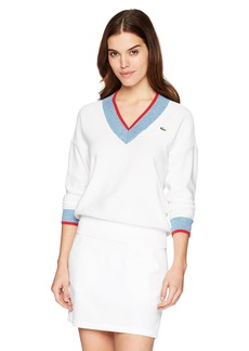Lacoste Women's Sport V-Neck Trim Golf Sweater AF343 White/Medway Jaspe-Toread