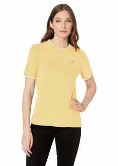Lacoste Women's S/S Caviar Pique Crewneck TEE Shirt PHYSALIS Flour