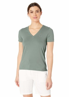 Lacoste Women's S/S Classic Supple Jersey V-Neck T-Shirt