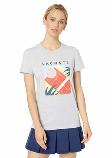 Lacoste Women's S/S Jersey Fluid Tennis Court Graphic TEE Silver Chine/LIMEIRA/NEOTTIA/Aquarium/Navy Blue/Bagatelle Pink/Mango Tree red/White