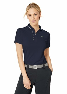 Lacoste Women's S/S Polyester Logo Golf Polo Navy Blue/White