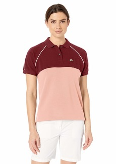 Lacoste Women's S/S Relaxed FIT Color Block Polo Pinot/CEMBRA/Flour