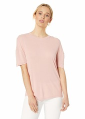 Lacoste Women's S/S Relaxed FIT Ribbed Lyocell TEE Shirt CEMBRA