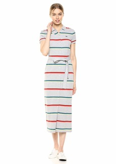 Lacoste Women's S/S Ribbed Cotton Striped Polo Dress
