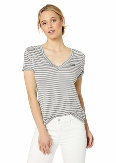 Lacoste Women's S/S Striped V-Neck TEE Shirt