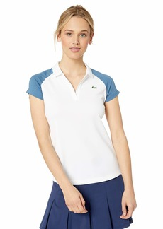 Lacoste Women's S/S Ultra Dry Polyester Color Block Tennis Polo White/NEOTTIA