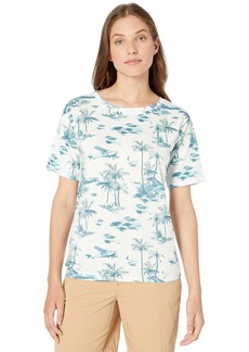 Lacoste Women's S/S/Relaxed FIT Hawaiian Print TEE Shirt