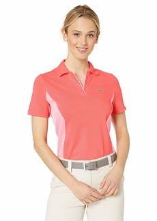 Lacoste Women's Stretch Mini Pique Color Block Golf Polo Mango Tree red/Bagatelle Pink
