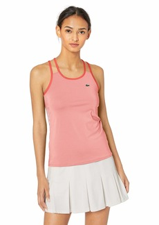 Lacoste Women's Stretch Technical Jersey Tennis Tank TOP Bagatelle Pink/Mango Tree red/White