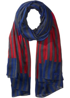 Lacoste Women's Striped Scarf Graphite/Methylene-Turkey Red-Bigarreau Cherry