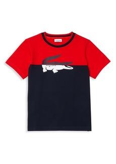 Lacoste Little Boy's & Boy's Crewneck Crocodile-Print Bicolor T-Shirt