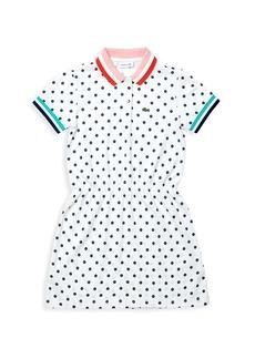 Lacoste Little Girl's & Girl's Polka Dot Cotton Piqué Polo Dress