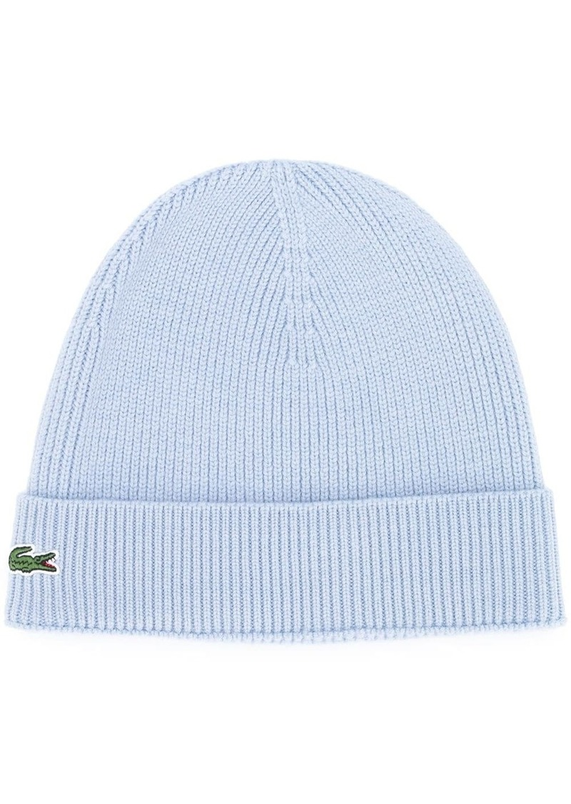 Lacoste logo embroidered beanie hat