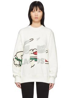 Lacoste Off-White Crocodile Print Sweatshirt