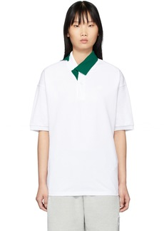 Lacoste White & Green Contrast Collar Polo