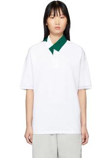 Lacoste White & Green Contrast Collar Polo
