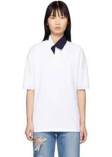 Lacoste White & Navy Contrast Collar Polo