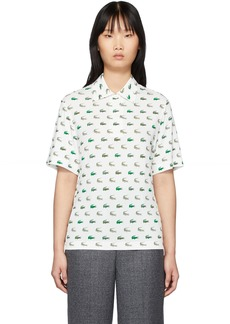 Lacoste White Printed Polo