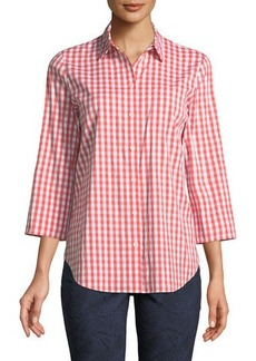 Lafayette 148 3/4-Sleeve Button-Front Gingham Top