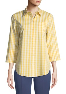 3/4-Sleeve Button-Front Gingham Top