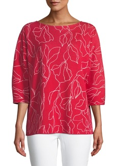 Lafayette 148 3/4-Sleeve Floral-Jacquard Cotton Sweater